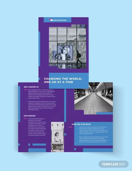advertising company bi fold brochure template