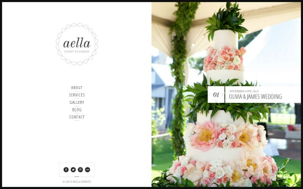 aella event planner website design
