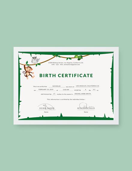 animal birth certificate
