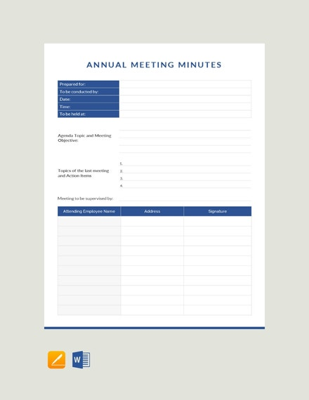 Annual Meeting Minutes Example