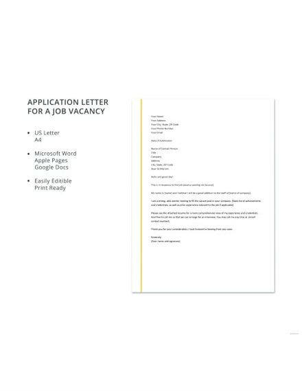 application letter template for a job vacancy