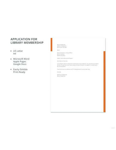 application for library membership template