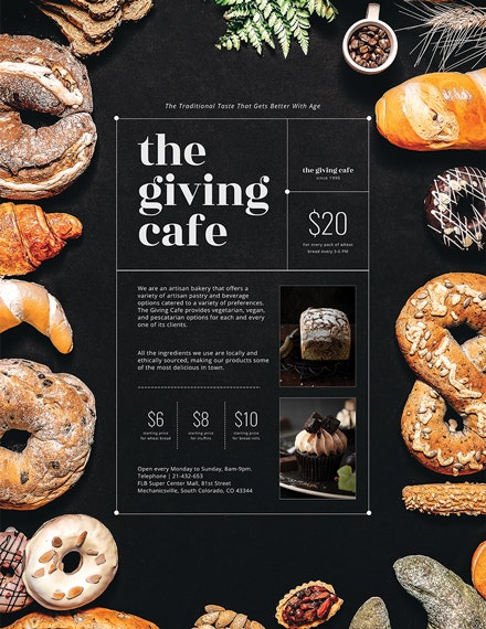 artisan bakery cafe poster sample