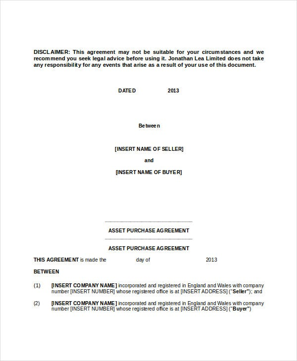 asset purchase agreement contract