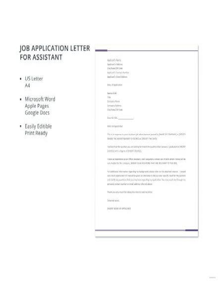 Assistant Job Application Letter