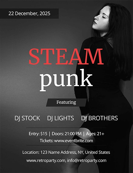 awesome steampunk party flyer template