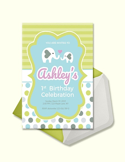Baby First Birthday Invitation Template