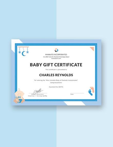 Baby Gift Certificate Template