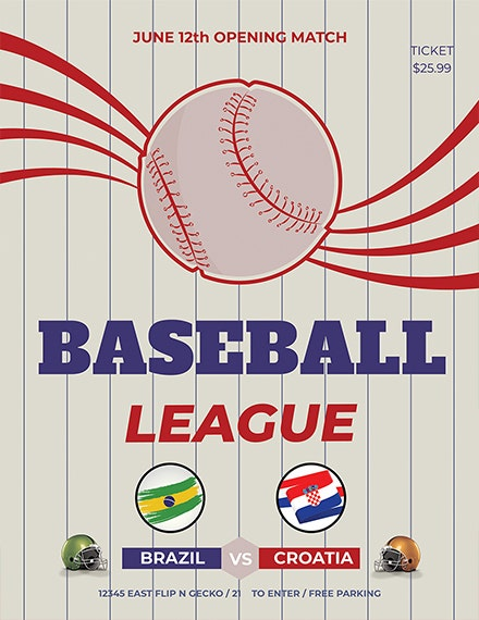 baseball league sports flyer template