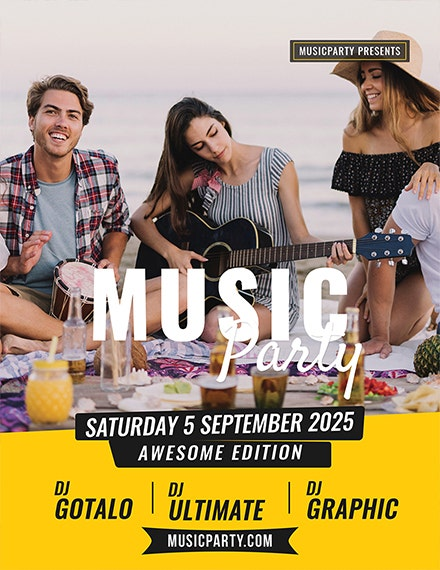 beach music party flyer template