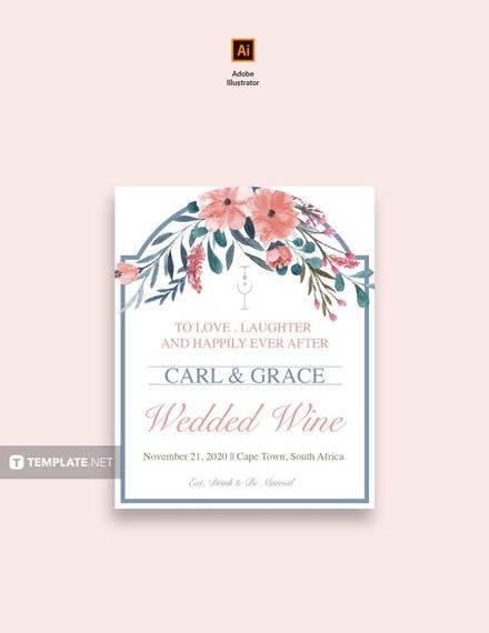 Beach Wedding Wine Label