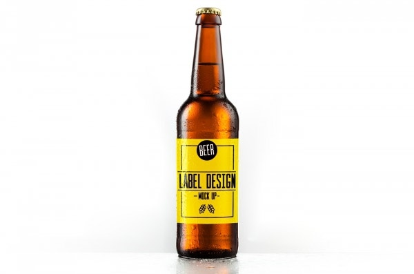 beer bottle label mockup template