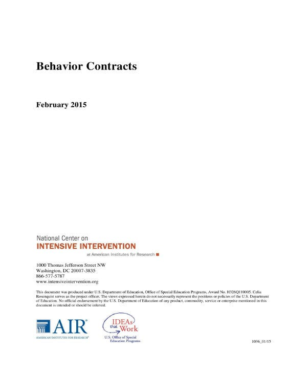 behavior change contract contents 1