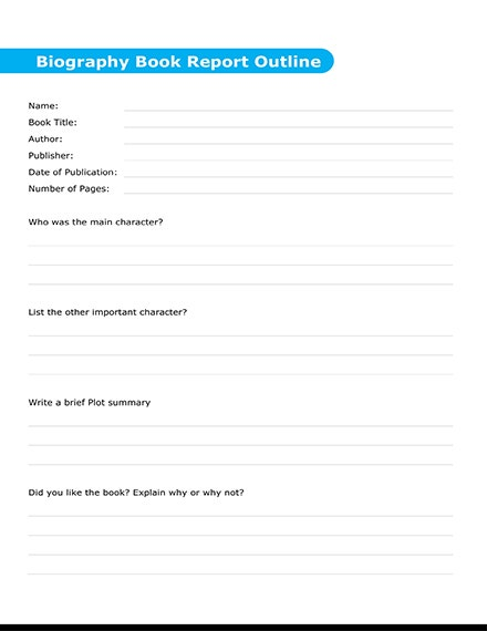 biography book report outline template 440