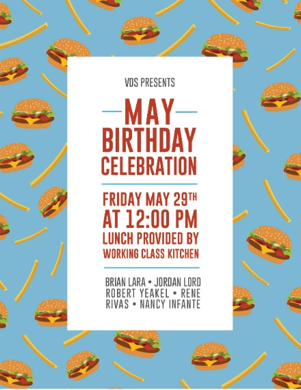 birthday celebration lunch invitation design