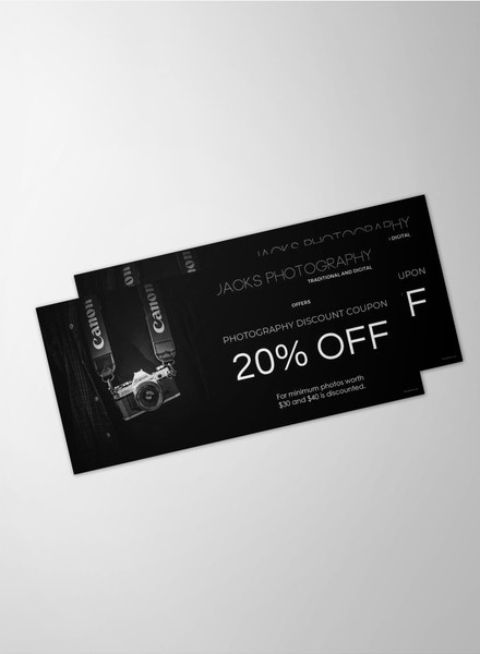 black photography gift voucher example