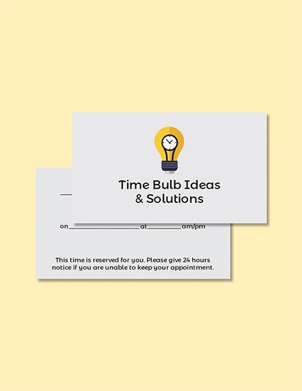 blank appointment card template