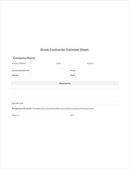 blank contractor estimate sheet