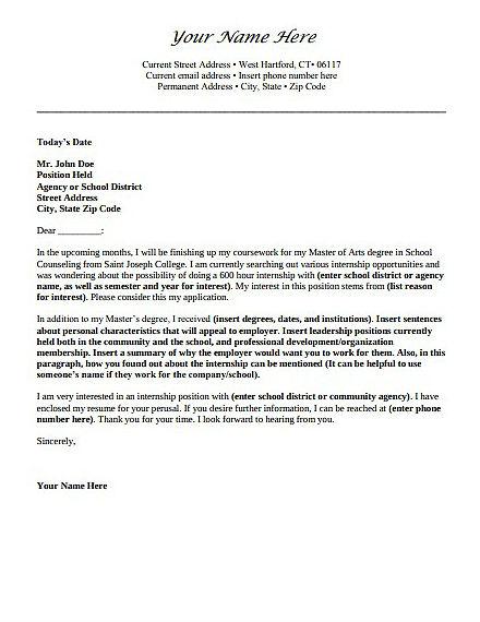 blank internship application letter template
