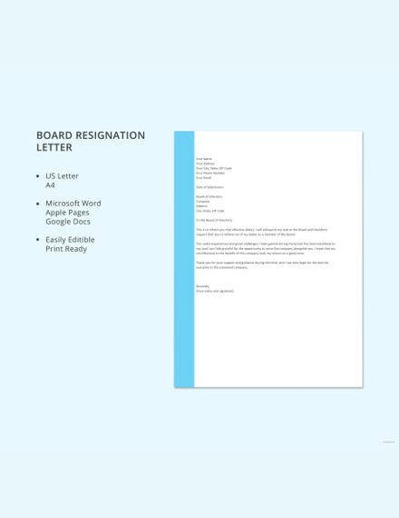 board resignation letter template