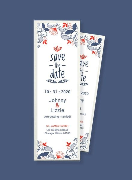 Bookmark Save the Date Invitation Template