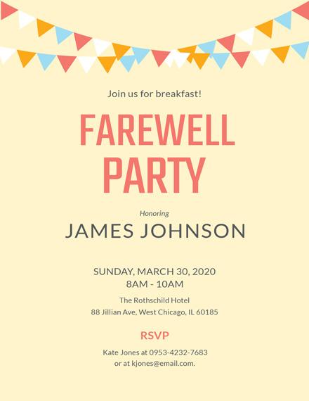 Breakfast Farewell Party Invitation Template