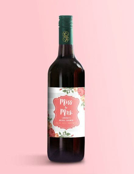 bridal shower wine label template