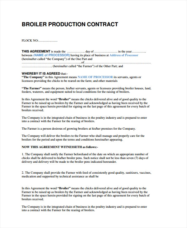 broiler production contract