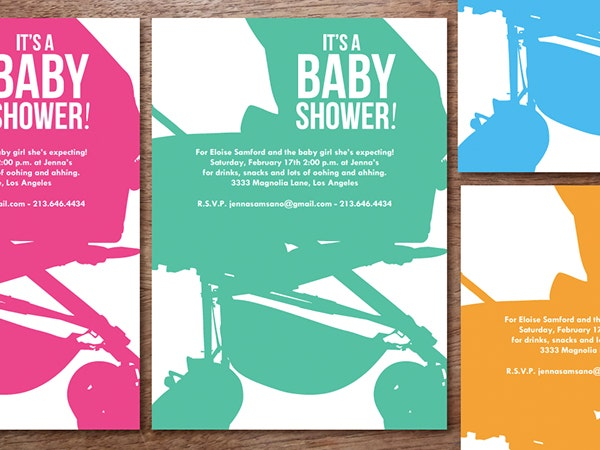Buggy Printable Baby Shower Invitation