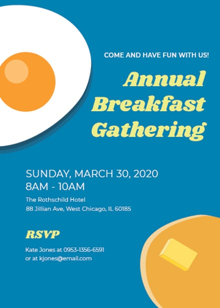 Business Breakfast Invitation Card Template