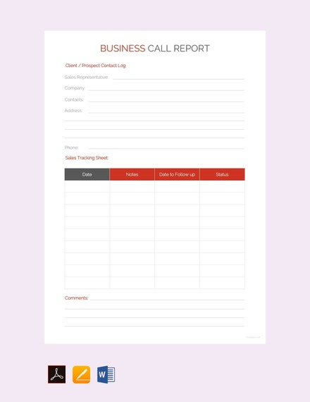 business call report sample