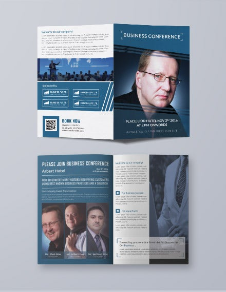 Business Conference Bifold Brochure Template