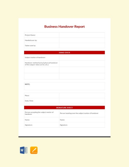 business handover report