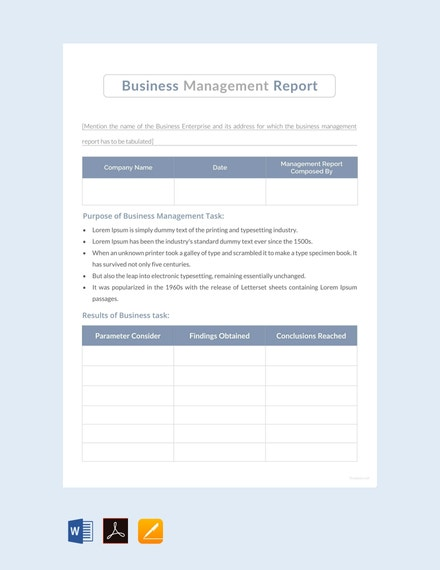 business management report example
