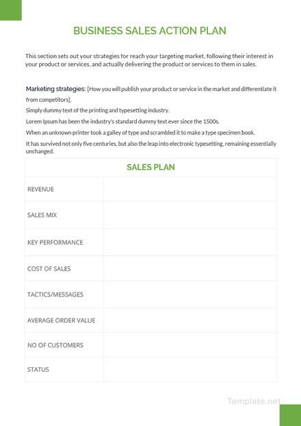 Business Sales Action Plan Template