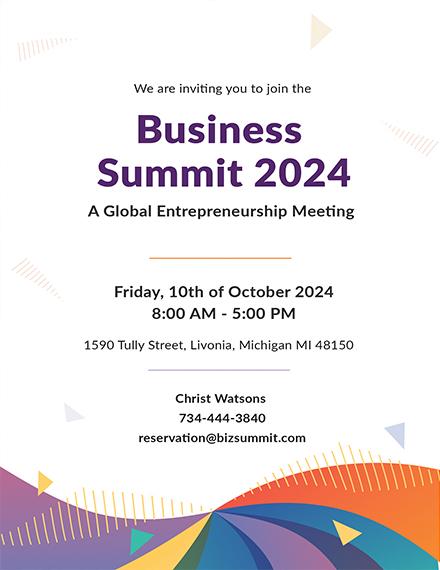Business Summit Meeting Invitation Layout