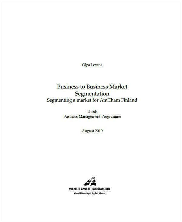 business to business market segmentation analysis