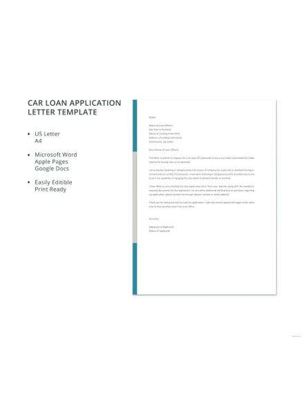 car loan application letter template