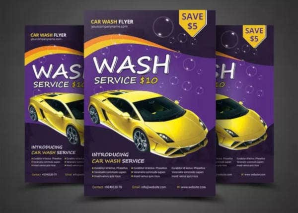 car wash flyer psd template