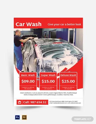 car wash service flyer template