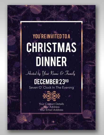christmas eve dinner invitation example