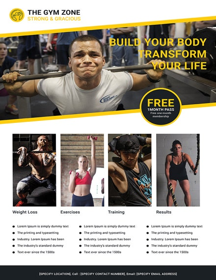 Clean Gym Business Poster Template