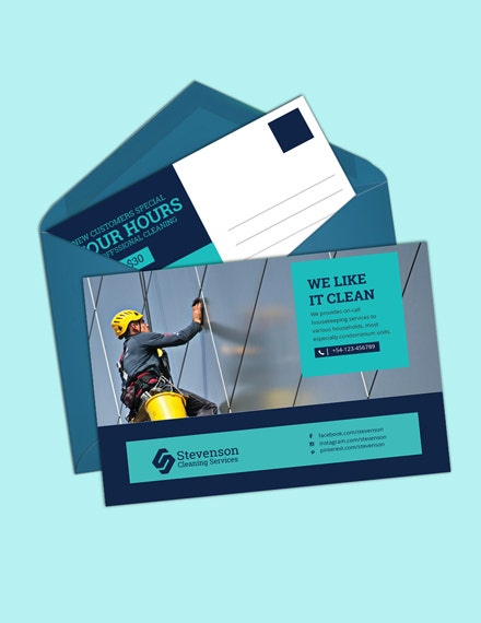 Cleaning Business Postcard Template