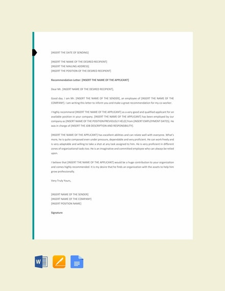 Co Worker Letter of Recommendation Template