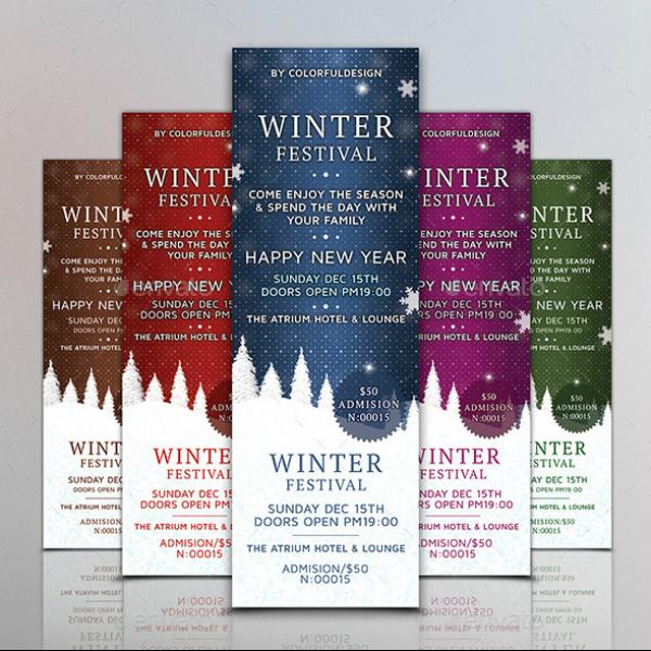 Colored Winter Festival Ticket Template