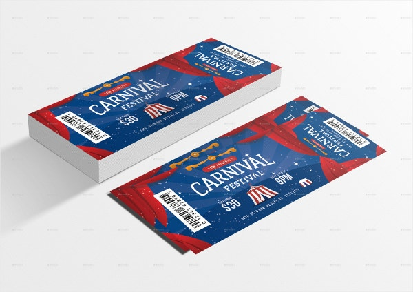 colorful carnival event ticket template