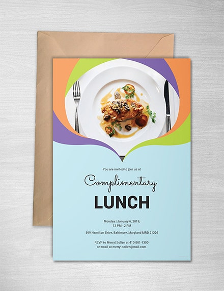 colorful complimentary lunch invitation template