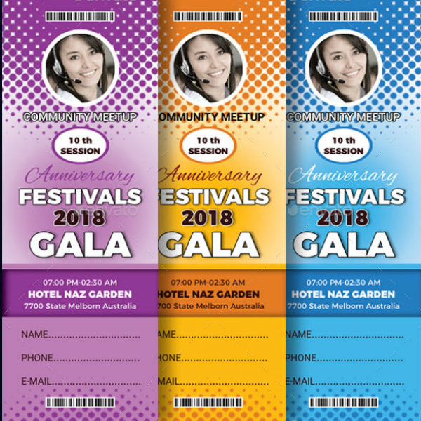 Colorful Gala Festival Ticket Template