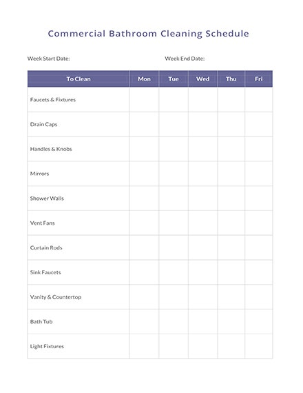 Commercial Bathroom Cleaning Schedule Template