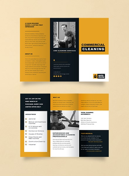 commercial cleaning business brochure design